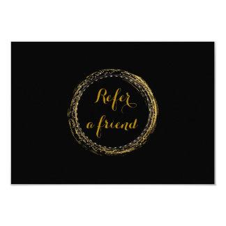 """Hoja de oro y tarjeta negra de la remisión del invitación 3.5"""" x 5"""""""