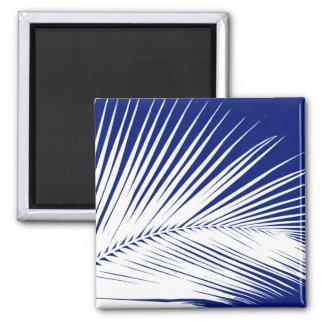 Hoja de palma - azules marinos y blanco imán cuadrado