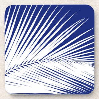 Hoja de palma - azules marinos y blanco posavasos de bebida