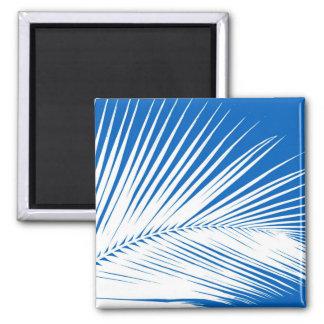 Hoja de palma - blanco en azul de cobalto imán cuadrado