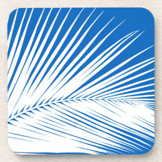Hoja de palma - blanco en azul de cobalto posavaso