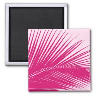 Hoja de palma - rosa magenta imán cuadrado