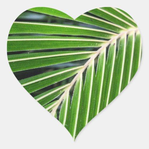 Hoja de palma verde abstracta calcomanías corazones personalizadas