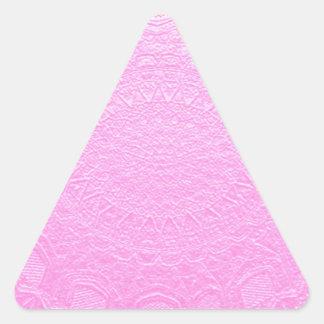 Hoja de plata de seda de BabyPink grabada en Pegatina Triangular