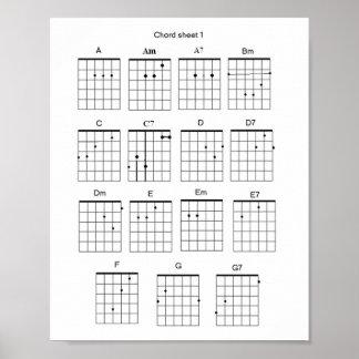 Hoja del acorde de la guitarra poster