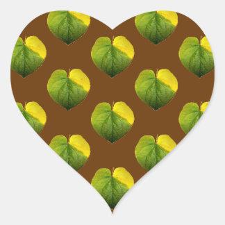 Hoja del amor de Catalpa del otoño Pegatina En Forma De Corazón