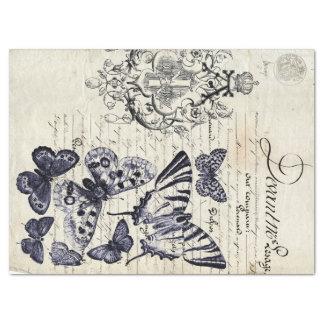 Hoja del collage de la mariposa de la escritura papel de seda grande