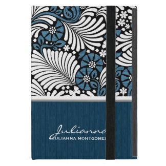 Hoja del helecho en azul, blanco y negro iPad mini protectores