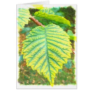 Hoja del olmo en otoño tarjeta de felicitación
