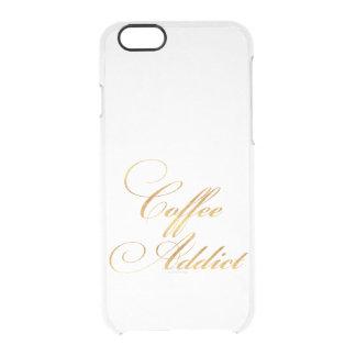 Hoja del oro de la cita del adicto al café la funda clearly™ deflector para iPhone 6 de uncommon