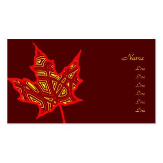Hoja del otoño tarjetas de visita