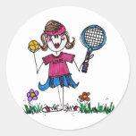 Hoja del pegatina - chica del tenis del palillo