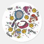 Hoja del pegatina - chicas del tenis