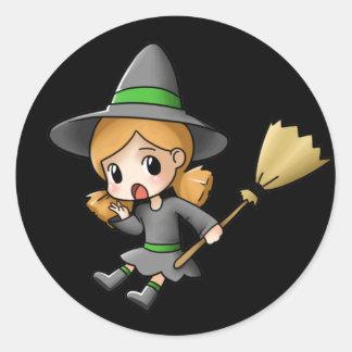 Hoja del pegatina de la bruja de Halloween Chibi