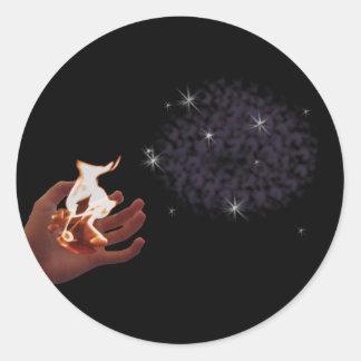 Hoja del pegatina de la mano del fuego pequeña