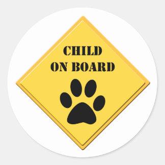 Hoja del pegatina del coche del perro del niño a