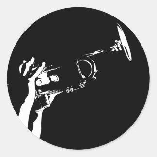 Hoja del pegatina del jugador de trompeta del jazz