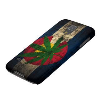 Hoja del pote de la bandera de Colorado del Grunge Carcasas Para Galaxy S5
