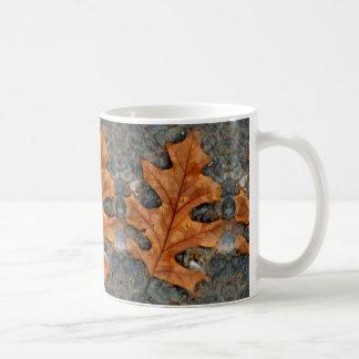 Hoja del roble del otoño en la taza del café/del