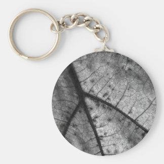Hoja del roble en blanco y negro llavero redondo tipo pin