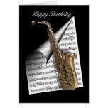 Hoja del saxofón y de música felicitación