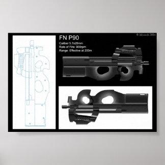 Hoja del Stat del FN P90 Posters