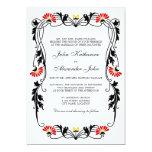 Hoja elegante floral y remolinos que casan la invitaciones personales