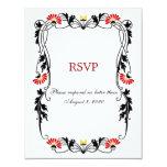 Hoja elegante floral y remolinos RSVP/tarjetas de Comunicados