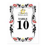 Hoja elegante floral y tarjeta del número de la ta postales