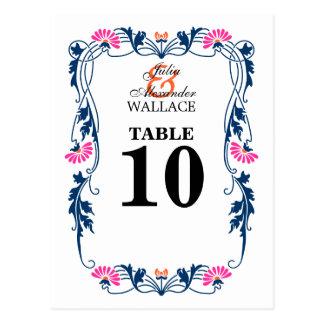 Hoja elegante floral y tarjeta del número de la postal