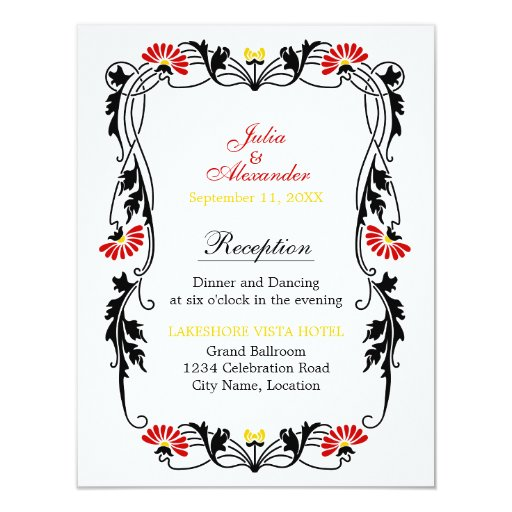 Hoja elegante floral y tarjetas de la recepción de comunicados personales