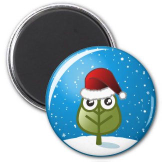 Hoja en globo de la nieve imán redondo 5 cm
