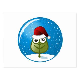 Hoja en globo de la nieve tarjeta postal