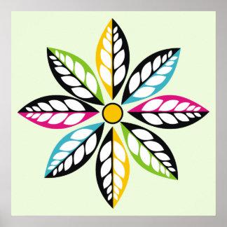 Hoja-Flor decorativa moderna, verde abstracto Impresiones