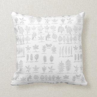 Hoja gris dibujada botánica del bosquejo de la man almohadas