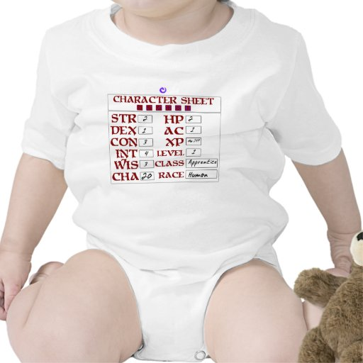Hoja humana del carácter del RPG del bebé del nive Camisetas