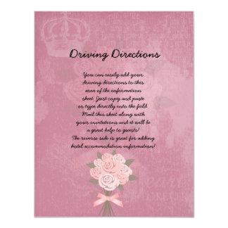 """Hoja informativa del ramo rosado del boda invitación 4.25"""" x 5.5"""""""