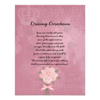 Hoja informativa del ramo rosado del boda comunicado personalizado