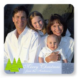 Hoja informativa en tarjeta de Navidad azul retra Invitacion Personalizada