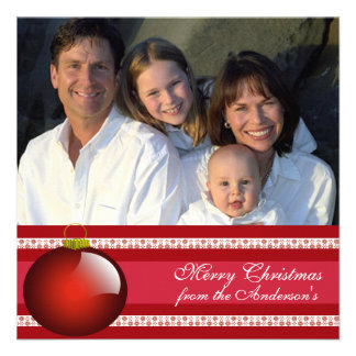 Hoja informativa en tarjeta de Navidad roja traser Invitaciones Personales