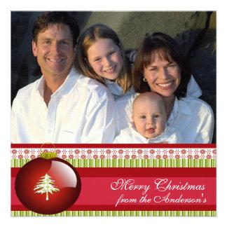 Hoja informativa en tarjeta de Navidad roja traser Invitación