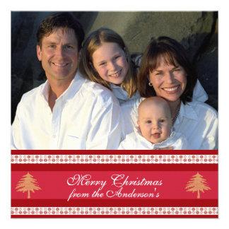 Hoja informativa en tarjeta de Navidad roja traser Comunicado Personalizado