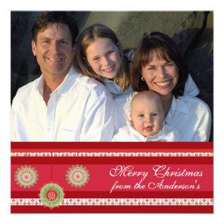 Hoja informativa en tarjeta de Navidad roja traser Comunicados Personales