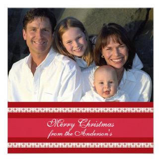 Hoja informativa en tarjeta de Navidad roja traser Invitacion Personalizada