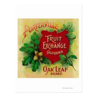 Hoja LabelPorterville anaranjado, CA del roble Postal