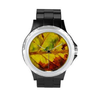 Hoja macra del otoño reloj de mano