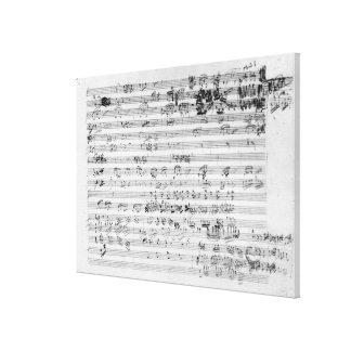Hoja manuscrita de la cuenta para el opus del bemo lona envuelta para galerías