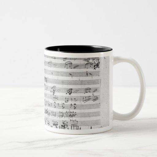 Hoja manuscrita de la cuenta para el opus del taza de dos tonos