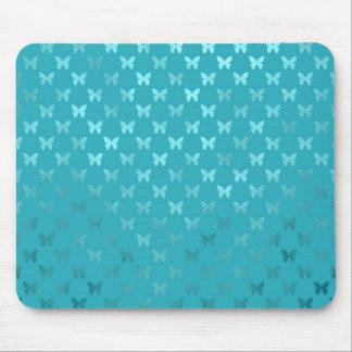 Hoja metálica de la mariposa azul de la aguamarina mouse pad