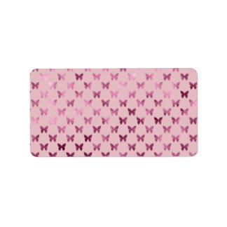 Hoja metálica de la mariposa color de rosa de etiquetas de dirección